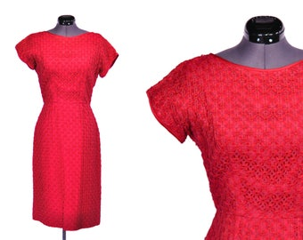 1950s Red Vintage Sheath Dress with Ribbon Overlay