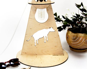 Table lamp UFO. Plywood. Handmade standing lamp made of plywood, with laser cut technology.UFO,cow,Lamps,lighting,design lamp,decor,present
