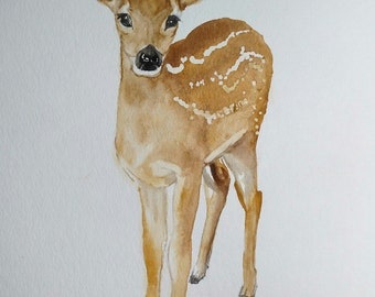 ORIGINAL!!  Deer Watercolor Painting , Baby Deer Watercolor, Deer Art, Baby Animal Painting, Nursery Art, Woodland,