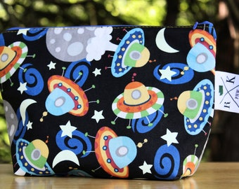 UFO Fans Bag, Space Zipper Bag, Outer-space Lovers, Knitting Tool Bag, Crochet Tool Bag, Make Up Bag, Toiletry Bag, Cotton Zipper Pouch
