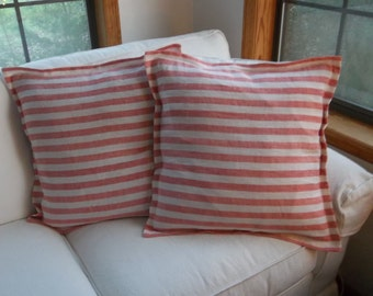 Pair Striped Linen Pillows Custom Sizes Red Shams Blue Pillow Shams Handmade Linen Pillows Covers Porch Decor Nautical Decor French Country
