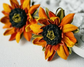 Yellow Orange Leather Sunflower Flower Earrings