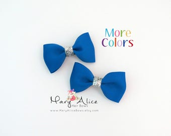 """Baby Hair Bow Set of 2- 2.5"""" Glitter Hair Bows, Girls Hair Bow, Toddler Hair Bow, No Slip Alligator Clip- Made to Order- SGT2"""