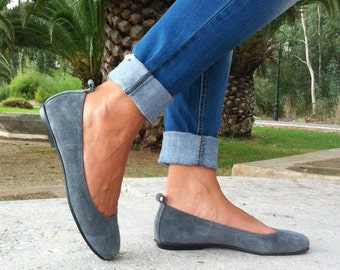 flat shoes, women shoes,ballet shoes, suede shoes, gray shoes