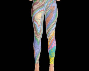 Geology map yoga leggings