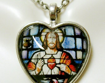 Sacred heart of Christ heart pendant and chain - AP40-010