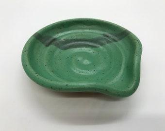 Handmade Pottery:  Spoon Rest - Green