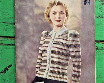 Vintage 40s Knitting Patterns Book Booklet Magazine Dorette No. 14 40s original patterns women's cardigan lingerie baby clothing men's socks