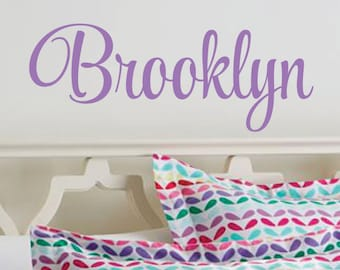 Vinyl name decal, personalized baby girl name, monogram, baby name wall decal, nursery wall decal, fancy script vinyl letters, vinyl decals