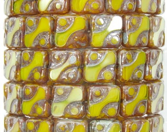 10mm Yellow Opal Picasso Table Cut Czech Glass Square Beads - Qty 15 (BS181)