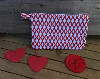 Quilted bag, red and white evening bag