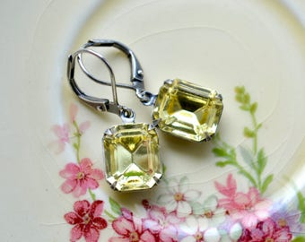 Jonquil Drop Earrings, Vintage Glass Earrings Sparkly Jewelry, Pale Yellow Earrings, Glass Jewel Earring, Yellow & Grey Dangle Earrings Gift