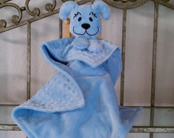 Minky Snuggle Pal Blue Puppy Blankie for Baby