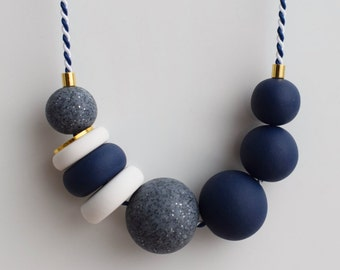 Navy Chunky necklace, Urban necklace, Blue Statement necklace, Beaded jewelry, Geometric necklace, Modern jewelry, Clay Marine necklace