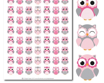 Pink Owl stickers, Owl planner stickers, Owl sticker, Woodland stickers, Animal stickers, Forest animal stickers, STI-275