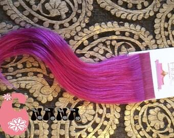 """Purple tape human hair Extensions hair extension, band European hair Extensions, 15 """", skin/glue"""