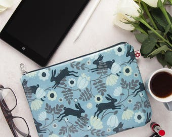 Wild Hare Oilcloth Large Zipped Pouch by Susie Faulks/ clutch purse / travel wallet / clutch / make up purse/ organiser/ travel wallet