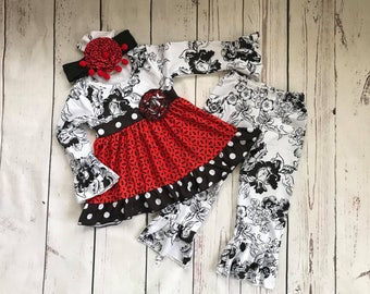 Beautiful Little Girls Black, Red & White outfit