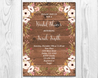 Rustic Bridal Shower Invitation Printable Floral Bridal Shower Invite Spring Bridal Shower Blush Pink Boho Chic Bridal Shower, You Print