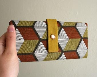 Geometric Hexagon Print - Brown and Mustard - Long Wallet Clutch - Card Slots, Zipper, Cash