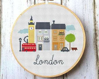 London cross stitch pattern Modern cross stitch pattern Big Ben pattern Cross stitch patter London England pattern PDF X029