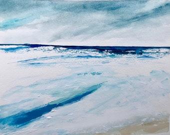 Original beach art, mixed media beach painting, watercolor/acrylic, stromy, waves ocean beach painting on watercolor paper. Beach decor.
