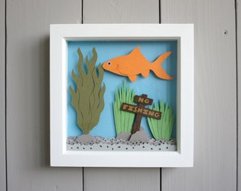 Goldfish wall art, framed papercut decor featuring a goldfish in a fish tank (15cm / 6 inches)