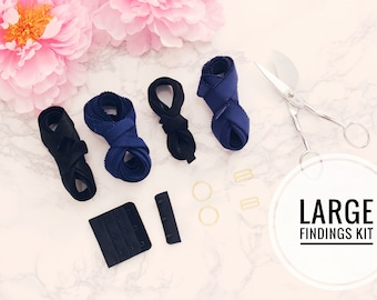 "Large Bra Findings Kit - Black Blue Navy - Perfect for an Underwired Bra with 3/4"" Strap & Band Elastics and 3x3 Hook and Eye"