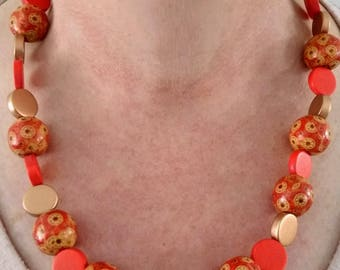 ladies beaded necklace orange patterned beads statement necklace