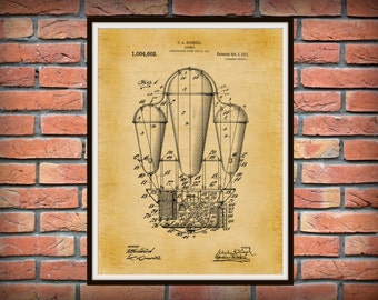 Patent 1911 Airship - Hot Air Balloon Patent - Dirigible - Art Print - Poster Print - Aviation Wall Art