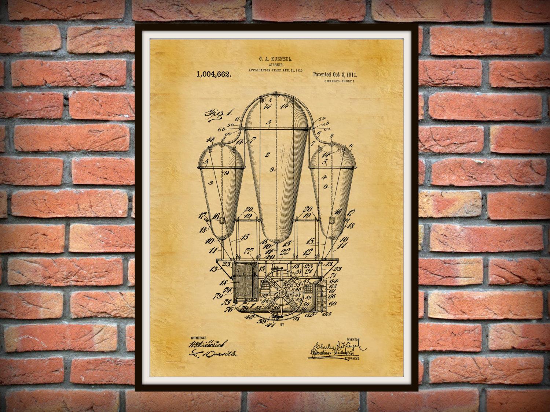 Patent 1911 Airship - Hot Air Balloon Patent - Dirigible - Art Print ...