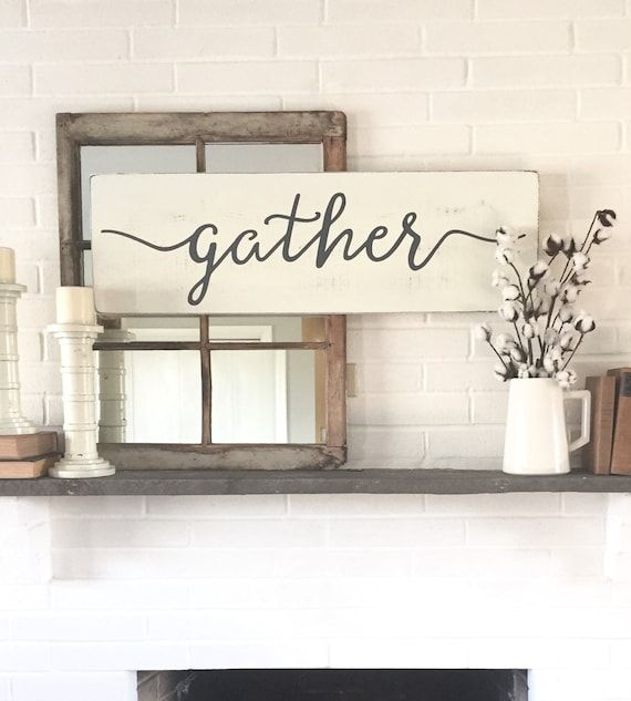 Gather wood sign rustic wall decor wall decor gather