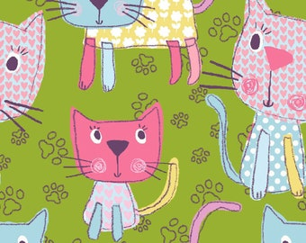 Chi Chi Patches - 11405 - Green Kitty Multi - from 3 Wishes Fabric