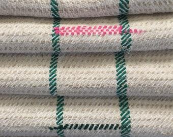 "Vintage Grain Sack 20.5x44"" Pink Blue Black & Emerald Green Stripes Thick - 576"