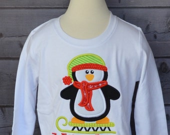 Penguin on Sled Applique Shirt or Onesie Boy or Girl Choose your color!