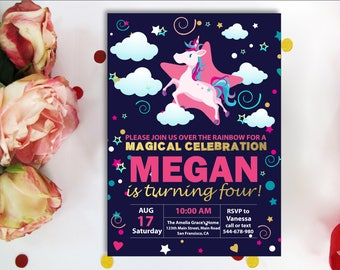 Unicorn Floral Invite. Unicorn Invitation, Rainbow Invitation, Magical Birthday Invitation, Unicorn Birthday Invitation, Rainbow Birthday