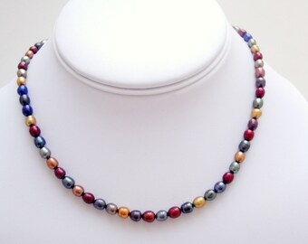 Multicolored Pearl Necklace  Wedding Earrings Bride Bridesmaid Maid of Honor Mother of the Bride Mother of the Goom