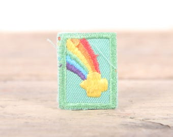 """Vintage Girl Scout Patch / 1970's-80's Scout Patch / Green Rainbow Patch / Old Stock Scout Patch / 1.5"""" Girl Scouts Patch / Scout Badge"""
