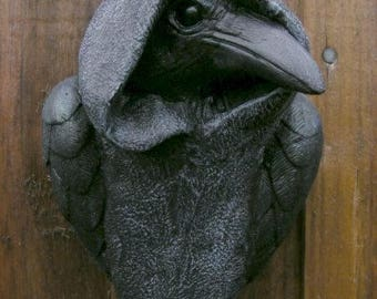Mystic Crow Plaque GARDEN OR INDOOR Wall Pagan Gothic Ornament Raven unusual