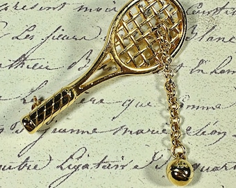 Vintage M Jent tennis racquet brooch pin with tennis ball signed