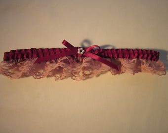 Burgundy wine satin and mauve lace wedding,bridal,prom garter