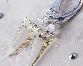 925 Sterling Silver Leverback Dangle Earrings *Luminous Green* SPIKE Genuine Crystals from Swarovski®