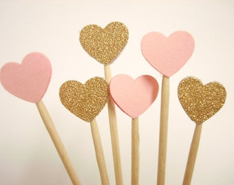 Set of 50Pcs - Gold Glitter and Pink ' Mini Heart' Cupcake Toppers, Food Picks, Weddings, Bridal/Baby Shower Party Picks