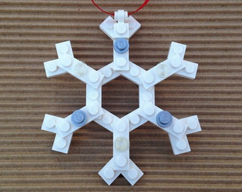 Lego Snowflake Ornament / Gift Tag - Made from Lego Bricks