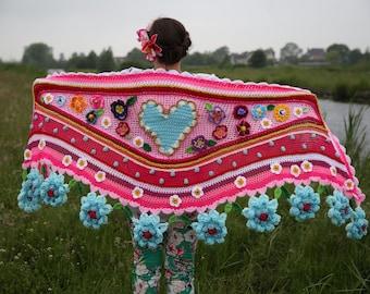 Crochet shawl Polleviewrap stole ibizastyle flower scarf