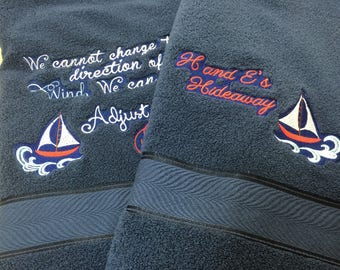 Set of 2 Personalized Nautical Themed Towels