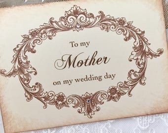 To my Mother Card, Card for Mother on Wedding Day Card, Card for Mom