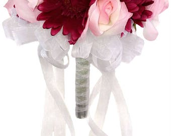 Pink Rose and Hot Pink Daisy - Silk Bridal Wedding Bouquet