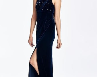 Women's Velvet Studded Maxi Dress