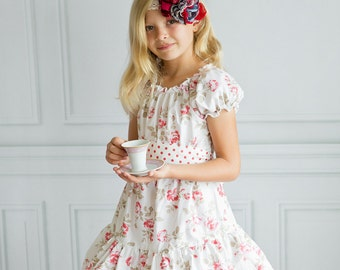 Girls Dress with Romantic Roses - Peasant Dress - Lace Trim - Country Chic - Vintage Inspired - Tea Party - Birthday - Pink - Cotton Dress